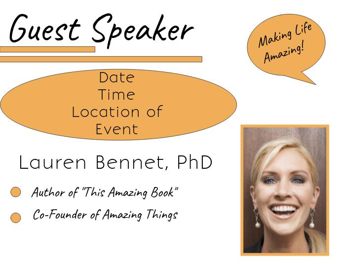guest speaker flyer orange template postermywall