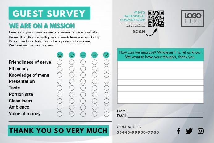 Guest Survey Comment Suggestion Card Etiket template