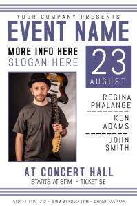 guitar band concert indie rock folk singer flyer template