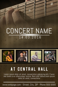 guitar concert country indie style flyer poster template