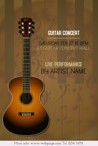 Guitar concert event poster template - brown