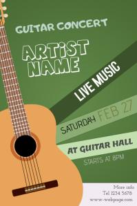 Guitar concert event poster template - green