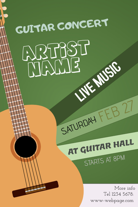 Guitar concert event poster template - green