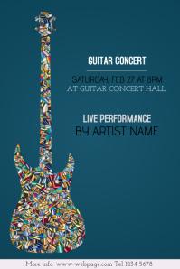 Guitar concert event poster template