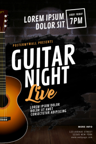 Guitar Concert Flyer Design Template Poster