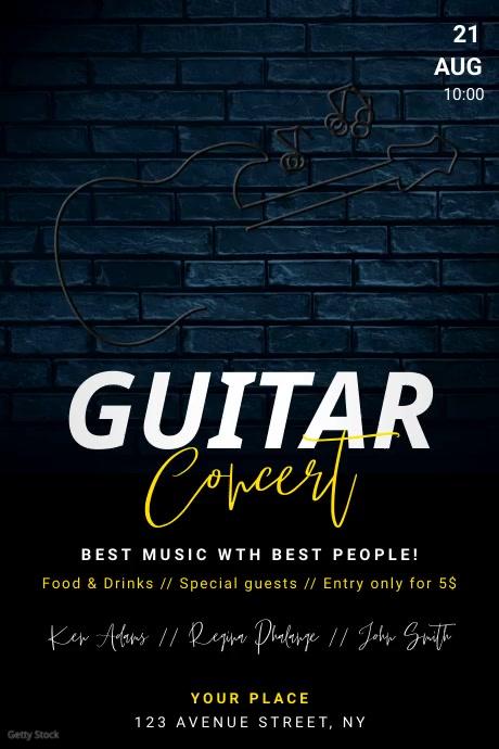 Guitar Concert Flyer Template Poster