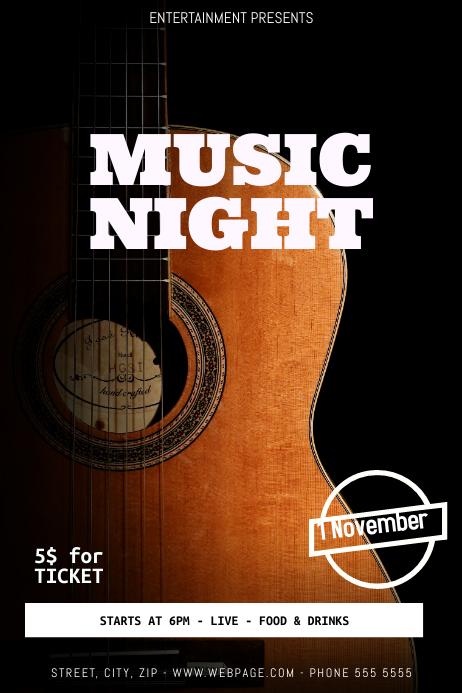 Guitar concert flyer template