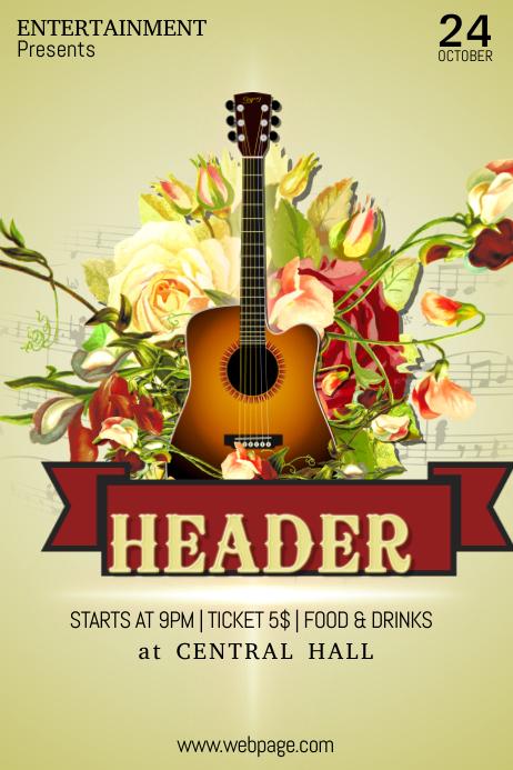Guitar Concert Rock n Roll Event Poster Flyer Template