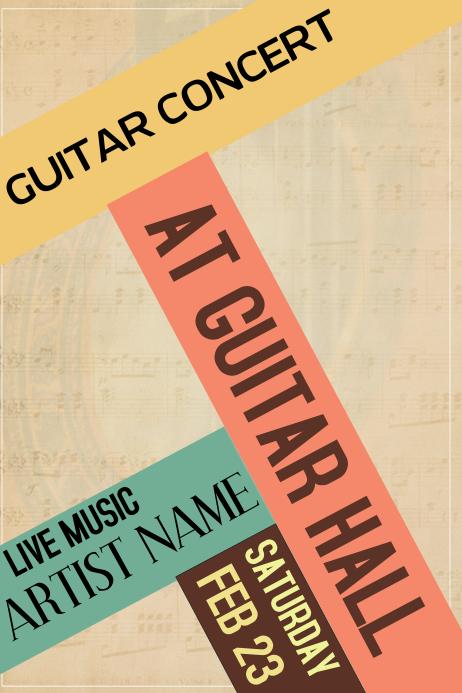 guitar concert vintage retro colors live concert poster template