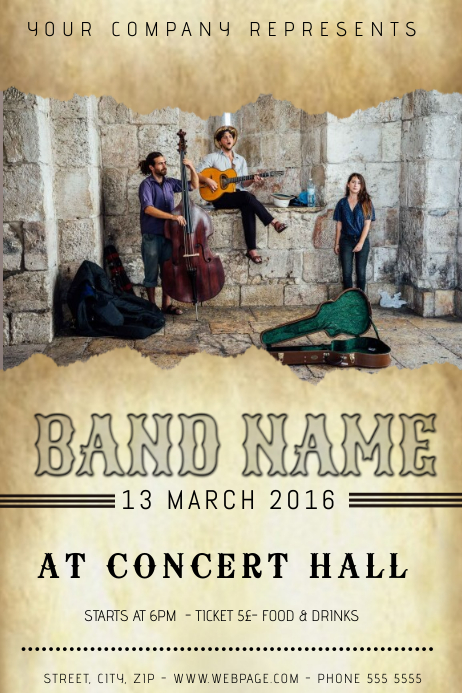 Guitar Indie Old Folk Band Concert Event Band Flyer Template