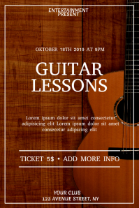Guitar lesson event flyer template Poster