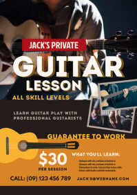 Guitar Lesson Flyer A4 template