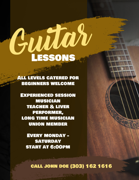 guitar lesson flyer poster template postermywall. Black Bedroom Furniture Sets. Home Design Ideas