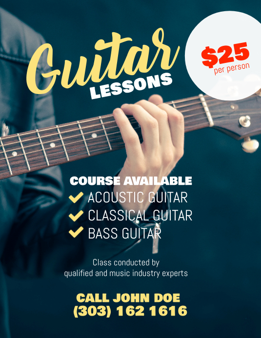 Guitar Lessons Flyer Poster