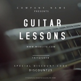 Guitar Lessons Motion Poster Square (1:1) template