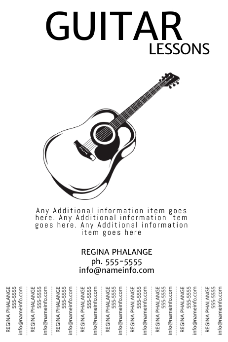Guitar Lessons Tear off tabs print black and white poster