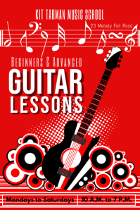 guitar lessons template Poster