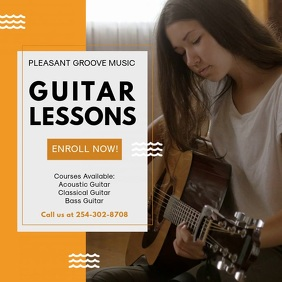 Guitar Lessons Tuition Instagram Ad Template Quadrado (1:1)