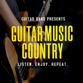 guitar music country music album cover design template