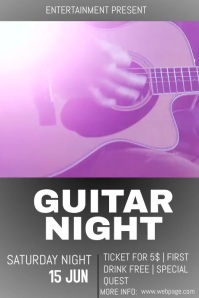 guitar night event flyer template Poster