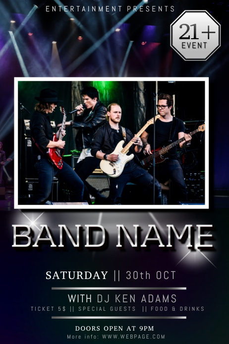 guitar rock band concert poster flyer template with photo