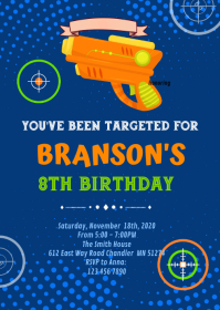 Gun laster tag birthday Invitation A6 template