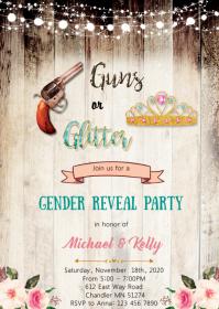 Gun or glitter gender reveal party invitation