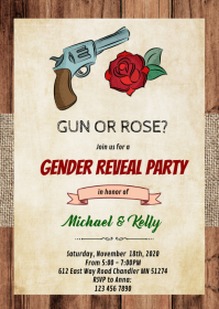 Gun or rose gender reveal card