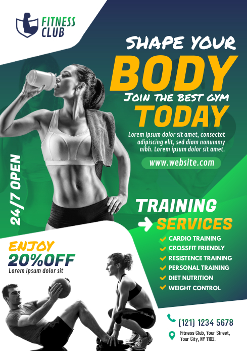 Gym | Fitness Center Flyer Template A4