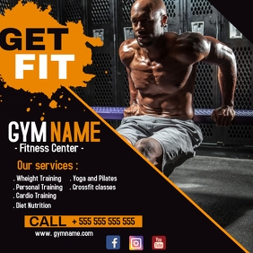 Gym and bodybuilding advertisement instagram Wpis na Instagrama template