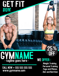 Gym and bodybuilding fitness flyer