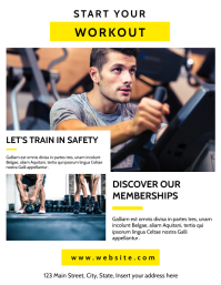 gym and fitness advertisement flyer creative Volante (Carta US) template