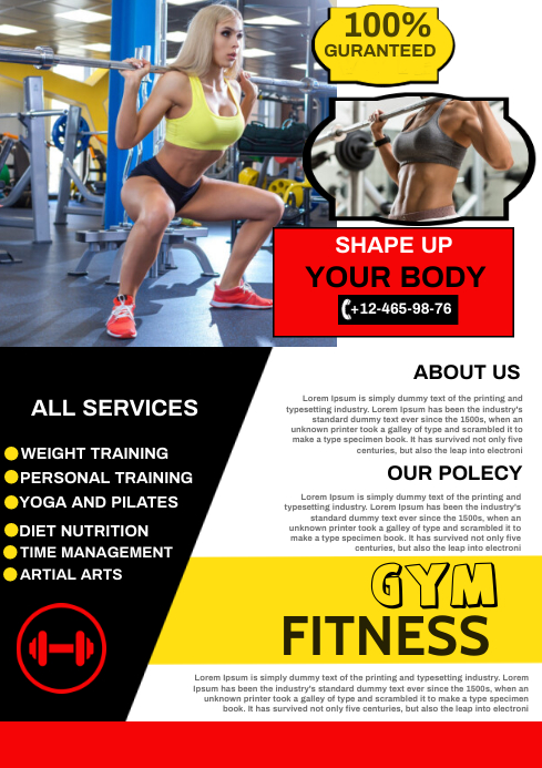 gym A4 template