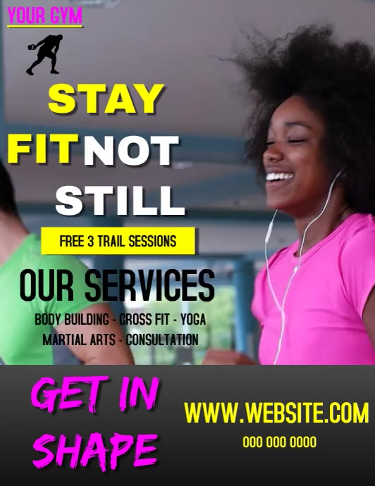 GYM FITNESS AD VIDEO Flyer (US Letter) template