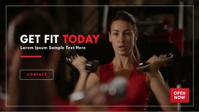 Gym Fitness Video Template วิดีโอหน้าปก Facebook (16:9)