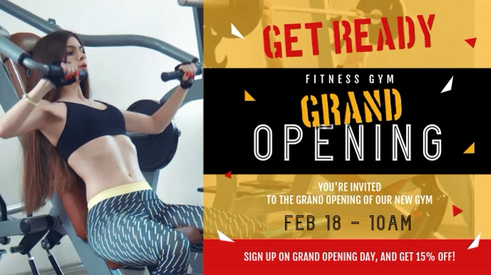 Gym Grand Opening Landscape Digital Display Video Ekran reklamowy (16:9) template