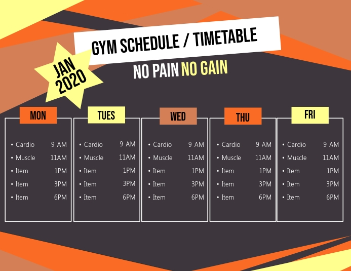 Gym Timetable Template