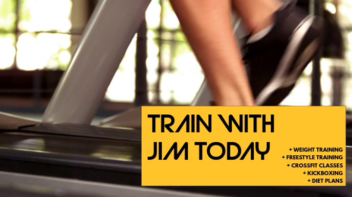 Gym Video Ad Template Tampilan Digital (16:9)
