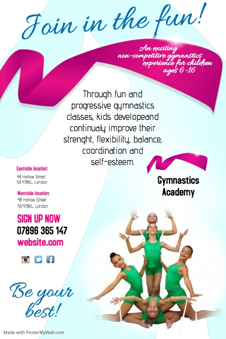 Gymnastic academy flyer Template | PosterMyWall