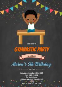 Gymnastic african american boy invitation A6 template