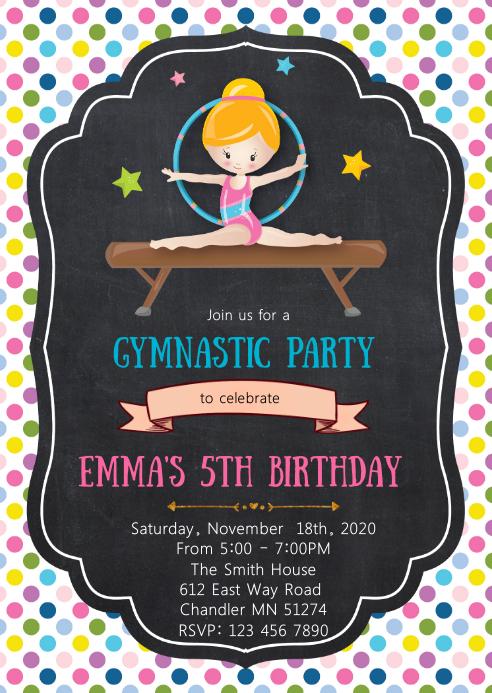 Gymnastic birthday party invitation
