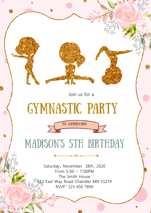 Gymnastic birthday party invitation