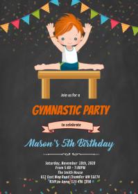 Gymnastic boy invitation A6 template