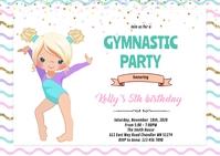 Gymnastic dance girl birthday invitation A6 template