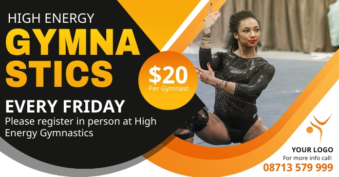 Gymnastics clinic advertisement banner Facebook Shared Image template