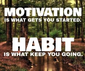 HABIT AND MOTIVATION QUOTE TEMPLATE Persegi Panjang Besar