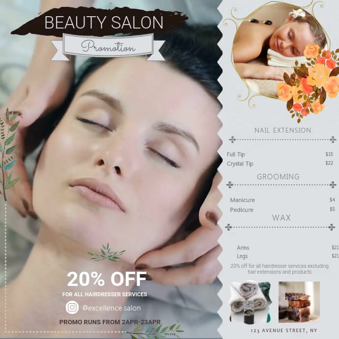 Hair Beauty Parlour Salon Ad Square (1:1) template