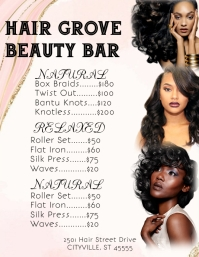 Hair beauty salon shop price list Flyer (US Letter) template
