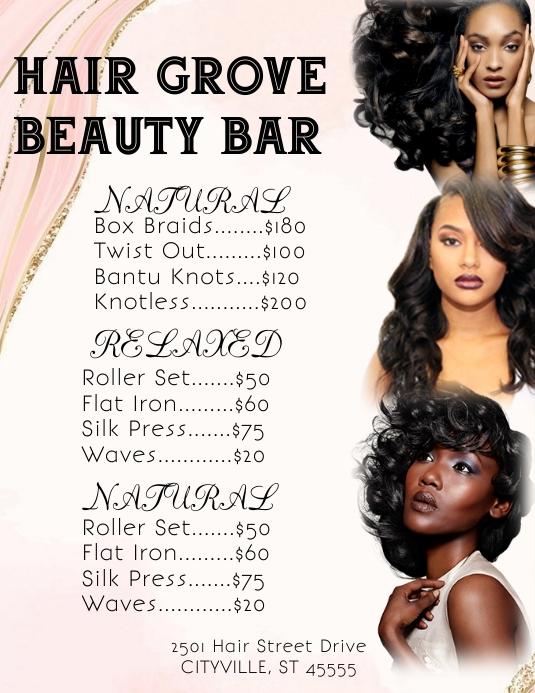Hair beauty salon shop price list Ulotka (US Letter) template