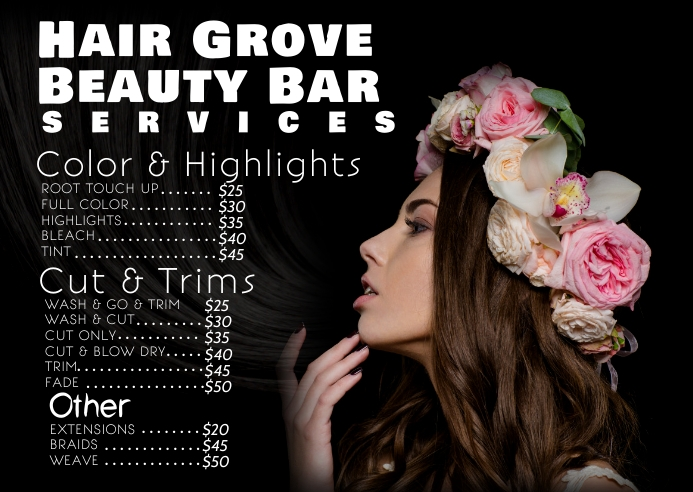 Hair beauty salon shop price list ไปรษณียบัตร template